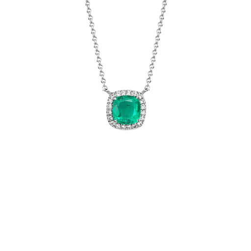 Cushion Cut Emerald and Diamond Pendant in 18k White Gold (6x6mm)