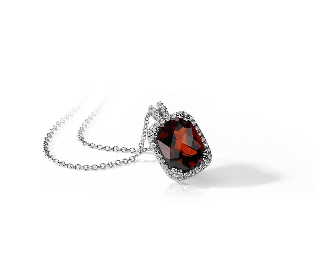 Cushion Garnet and Diamond Pendant in 14k White Gold (10x8mm)