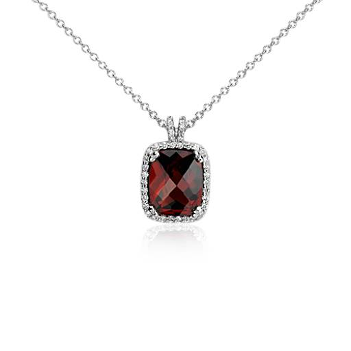 Cushion Cut Garnet and Diamond Pendant in 14k White Gold