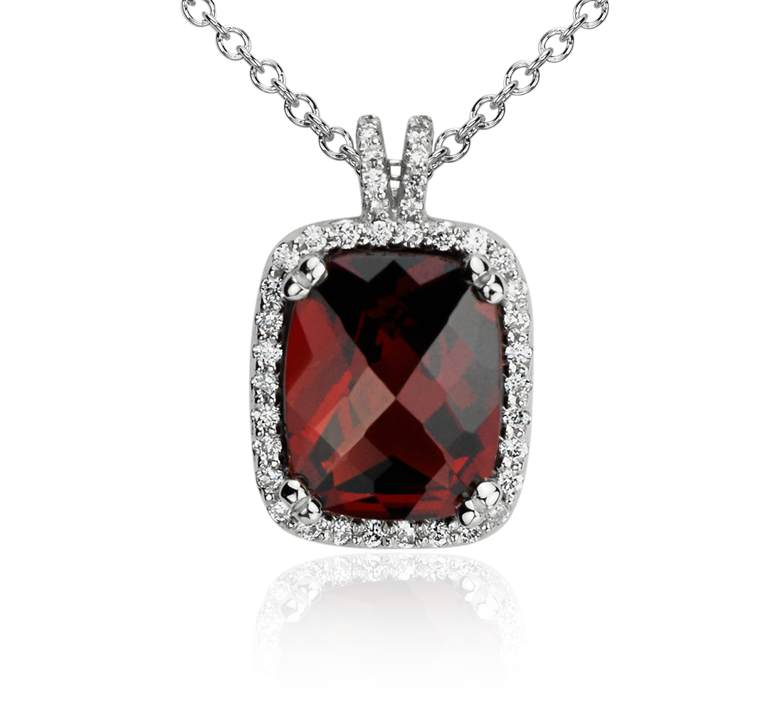 Robert Leser Cushion Garnet and Diamond Pendant in 14k White Gold (10x8mm)