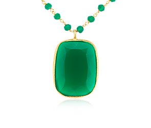 Green Agate Necklace in Gold Vermeil