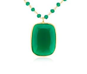 Collar de ágata verde en plata bañada en oro