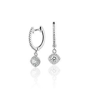 NEW Cushion Halo Diamond Drop Earrings in 14k White Gold (1/2 ct. tw.)