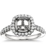 Cushion-Shaped Halo Diamond Engagement Ring in Platinum