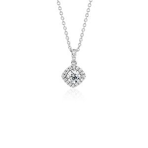 NOUVEAU Pendentif halo de diamants taille coussin en or blanc 14carats (1/2carat, poids total)