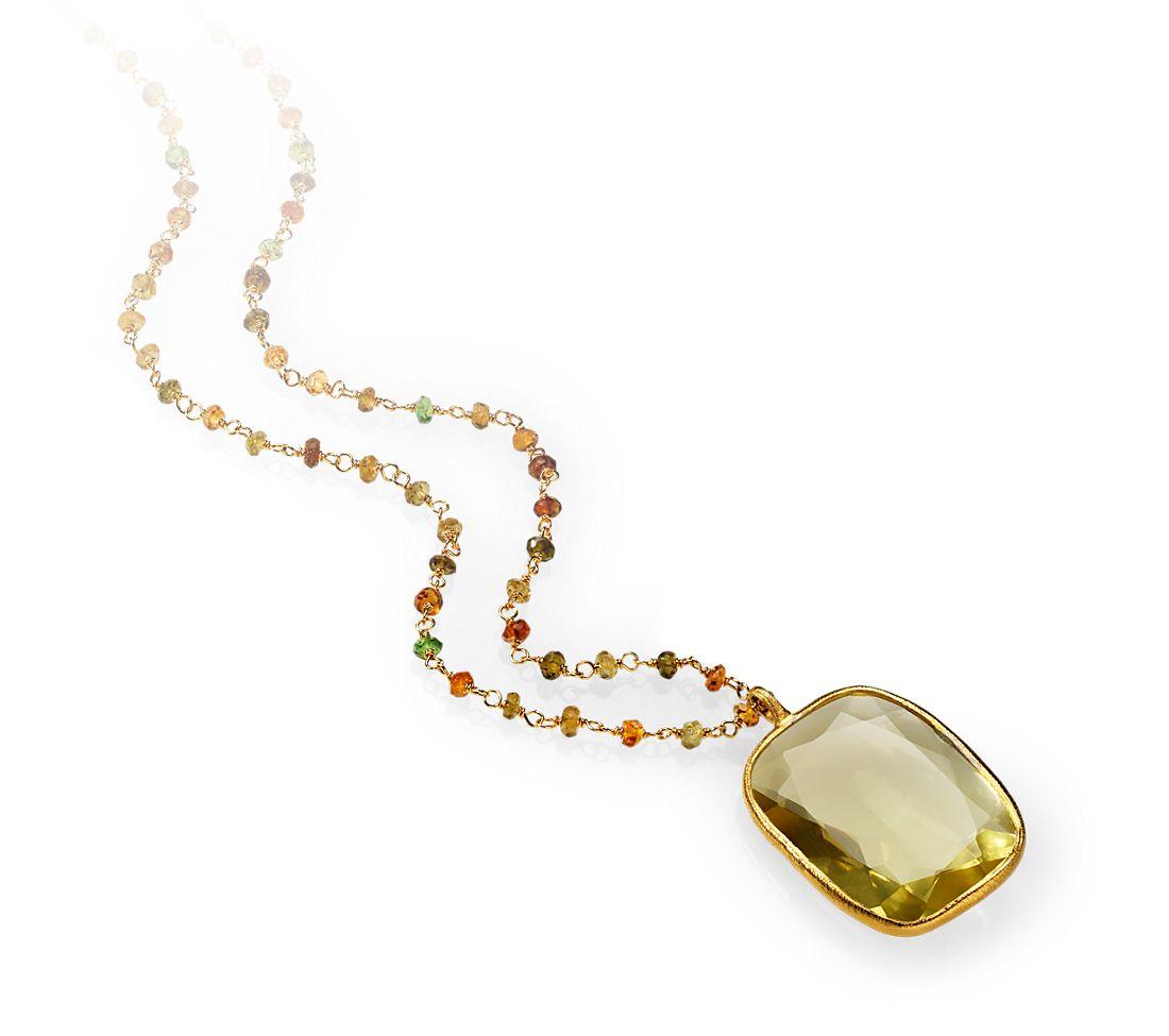 Lemon Quartz and Tourmaline Necklace in Gold Vermeil
