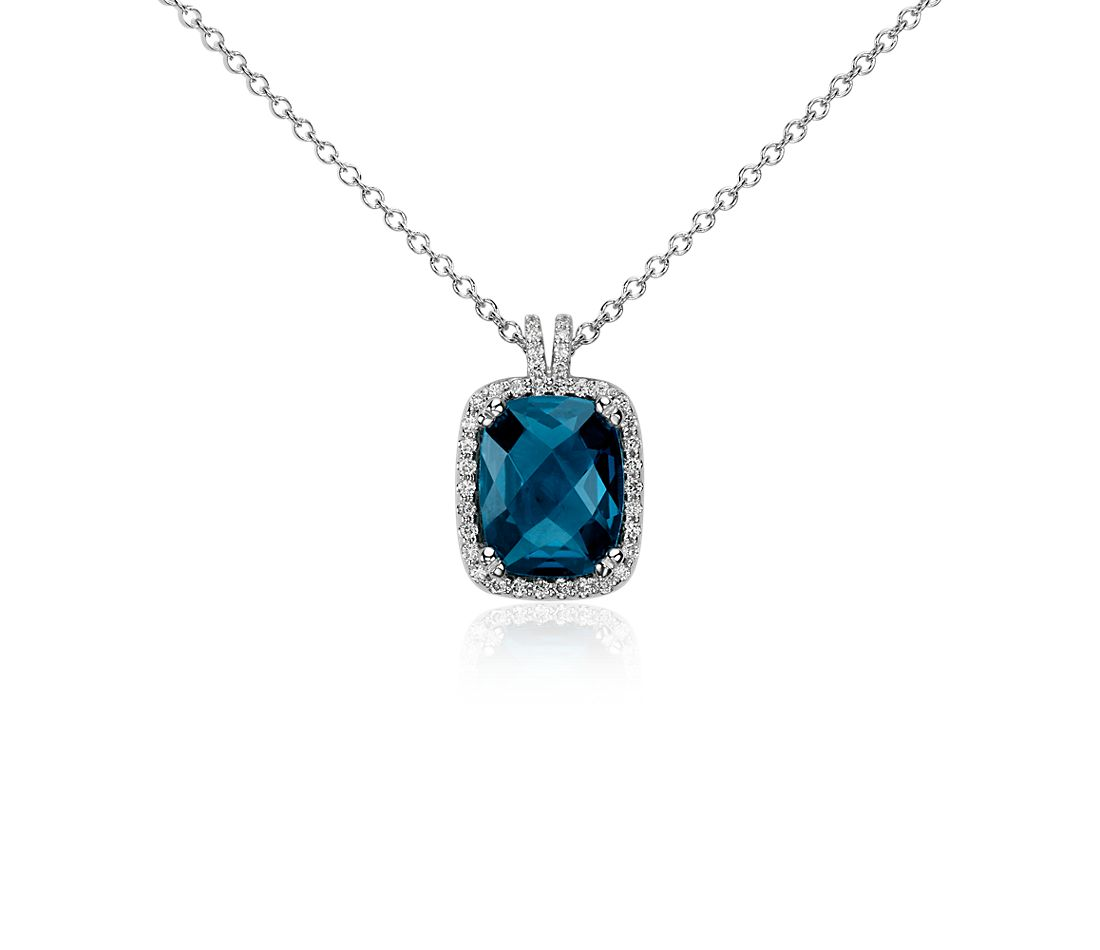 Cushion Cut London Blue and Diamond Pendant in 14k White Gold