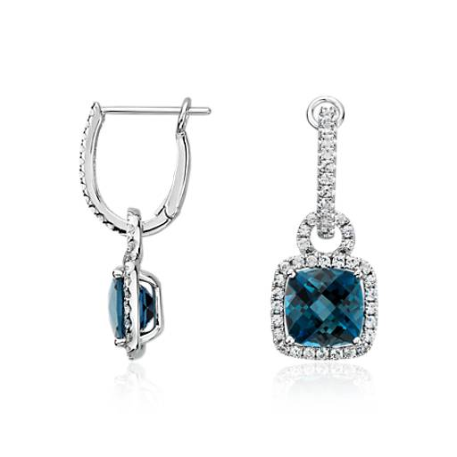 London Blue Topaz and White Sapphire Halo Cushion-Cut Drop Earrings in Sterling Silver
