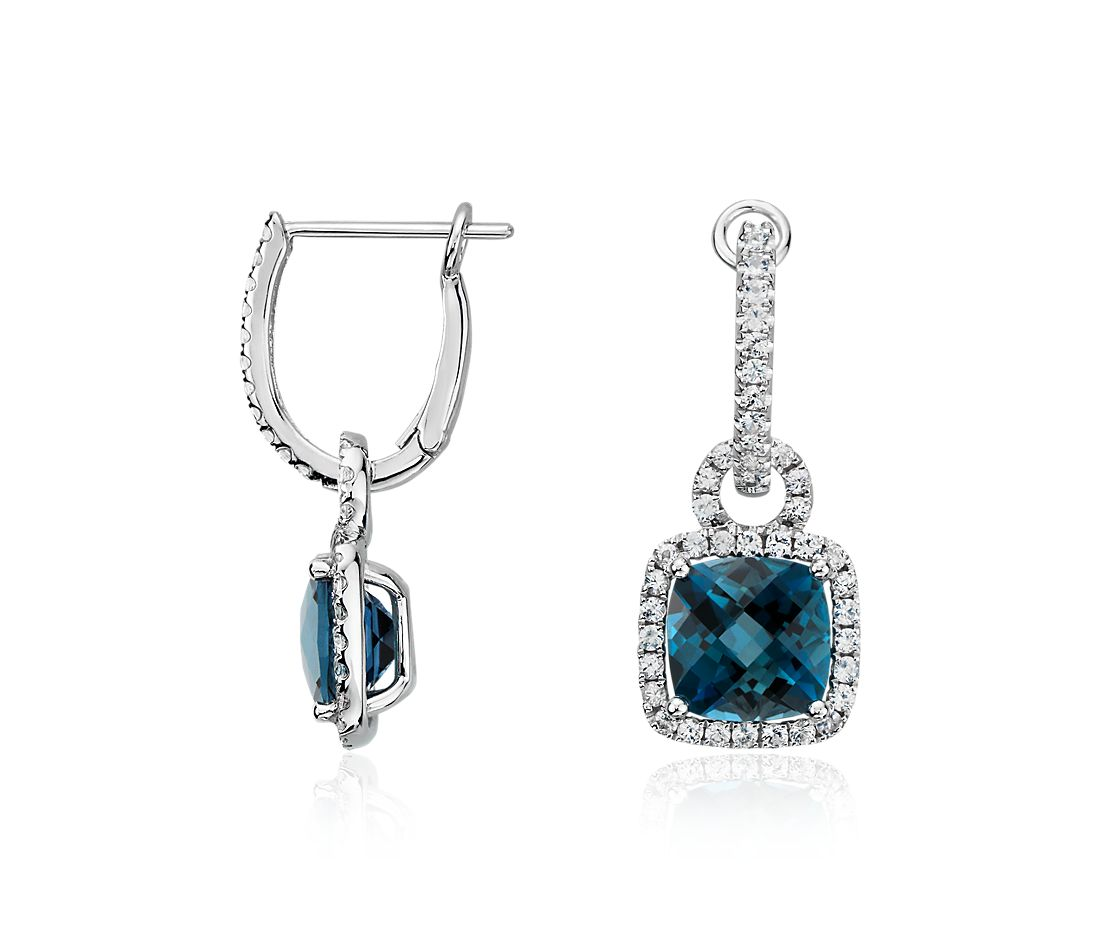 London Blue Topaz and White Sapphire Halo Cushion-Cut Drop Earrings in Sterling Silver (8x8mm)