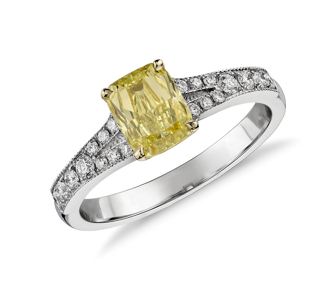 Fancy Yellow Cushion Diamond Ring in 18k White Gold