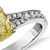 Fancy Yellow Cushion Diamond Ring in 18k White Gold (1.06 ct)