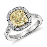 Fancy Yellow Cushion Micropavé Halo Diamond Ring in Platinum and 18k Yellow Gold (2.40 ct. tw)