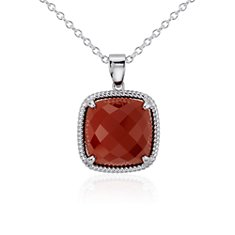 Red Agate Pendant in Sterling Silver