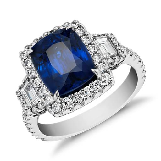 Sapphire and Diamond Halo Three-Stone Ring in 18k White Gold (3.65 ct)