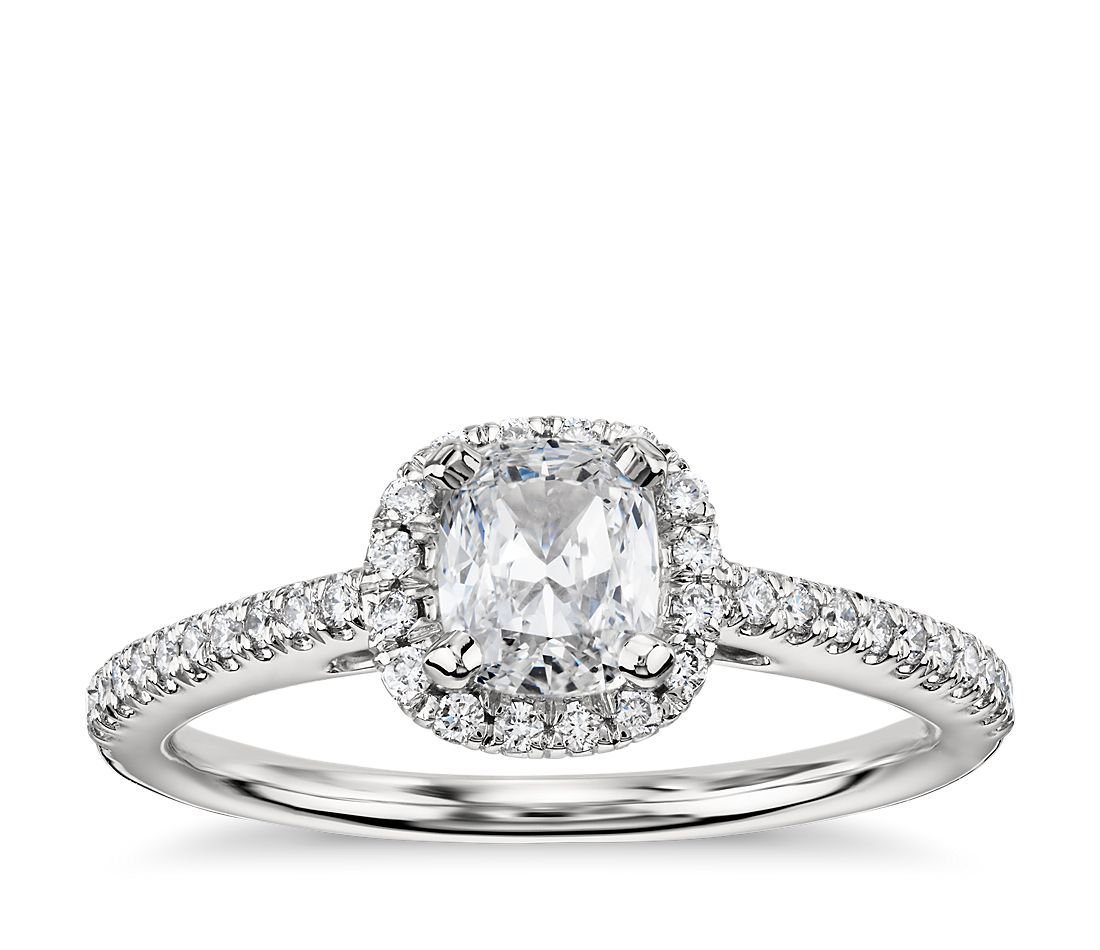 Cushion Cut Halo Diamond Engagement Ring in Platinum (1/4 ct. tw.)