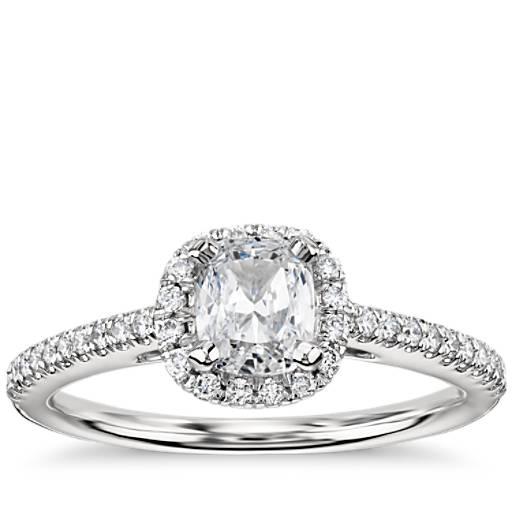 Bague de fiançailles halo de diamants taille coussin en platine (1/4carat, poids total)