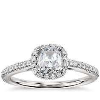 Cushion Cut Halo Diamond Engagement Ring in 14k white gold