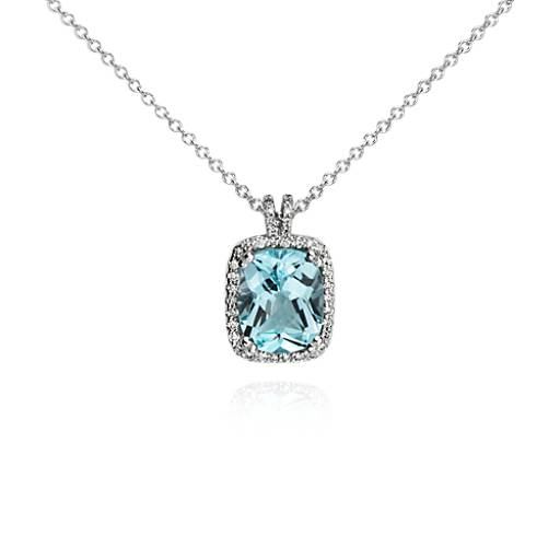 Sky Blue Topaz and Diamond Halo Cushion-Cut Pendant in 14k White Gold