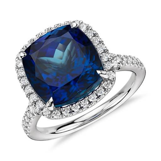 Cushion Tanzanite and Diamond Halo Ring in 18k White Gold (8.36 ct.)