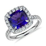 Tanzanite and Micropavé Diamond Ring in 18k White Gold (4.76 ct center) (9x9mm)