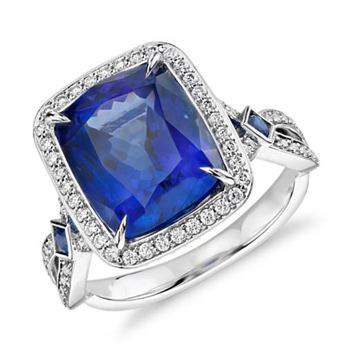 Tanzanite Cushion and Micropavé Diamond Ring in 18k White Gold (6.17 ct center)