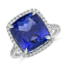 Bague diamant serti micro-pavé et tanzanite en Or blanc 18 ct (7.88 ct)