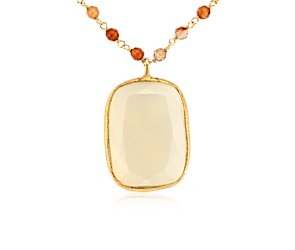 White Agate and Red Agate Necklace in Gold Vermeil