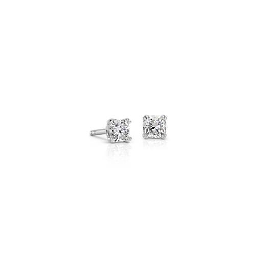 Puces d'oreilles diamant coussin avec panier tissé en or blanc 18carats (1/2carat, poids total)