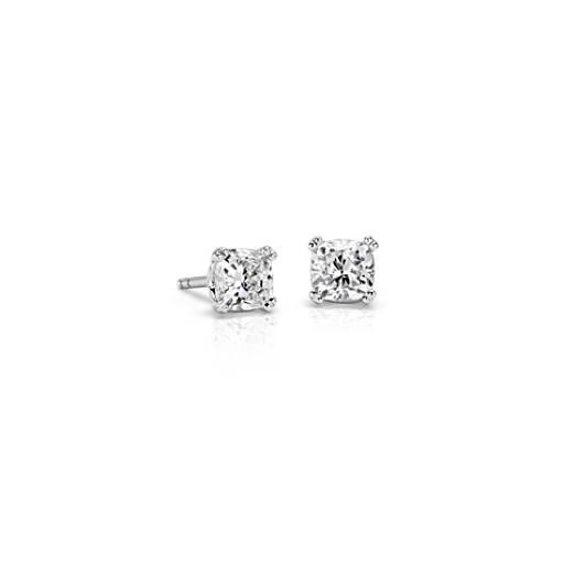 Diamond Cushion Stud Earrings with Woven Basket in 18k WG - H / VS2 (1 ct. tw.)