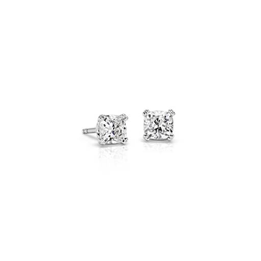 Diamond Cushion Stud Earrings with Woven Basket in 18k WG - H / VS2 (1 ct. tw.)