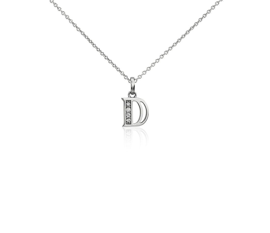 "Mini Initial ""D"" Diamond Pendant in 14k White Gold"