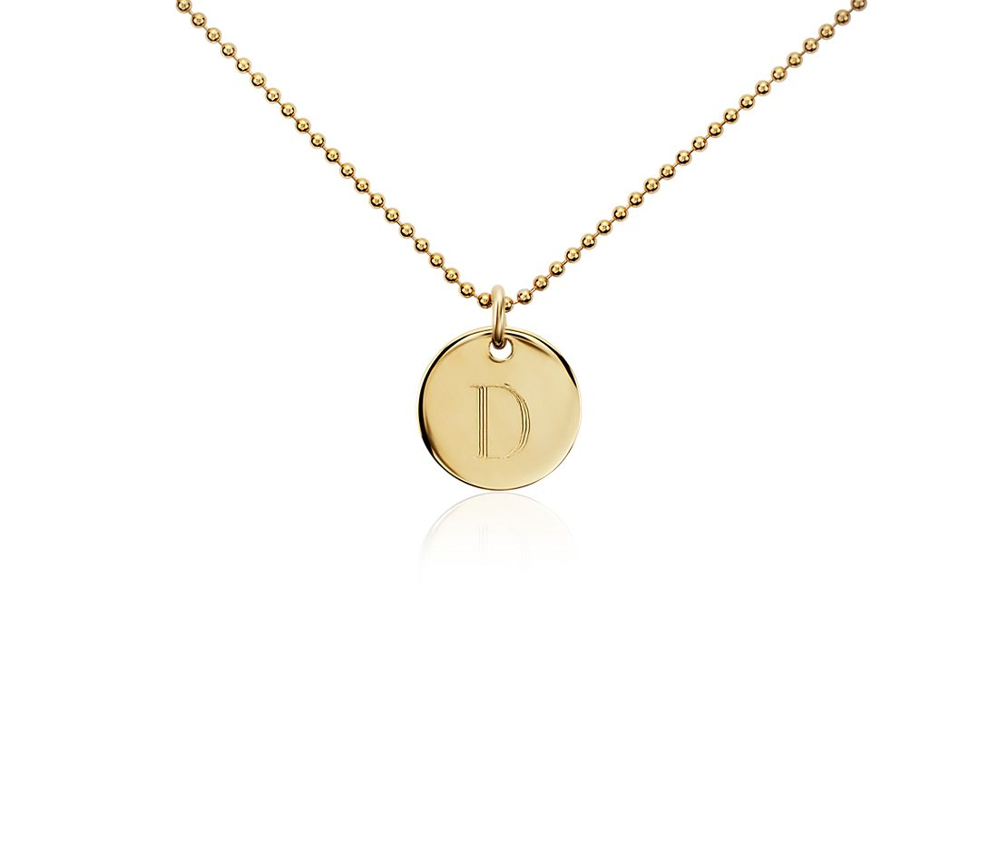 """D"" Mini Initial Pendant in Gold Vermeil"