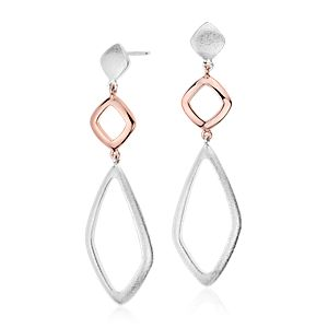 Geometric Dangle Earrings in Sterling Silver and Rose Gold Vermeil