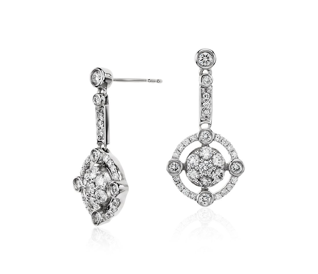 Deco Diamond Earrings in 18k White Gold