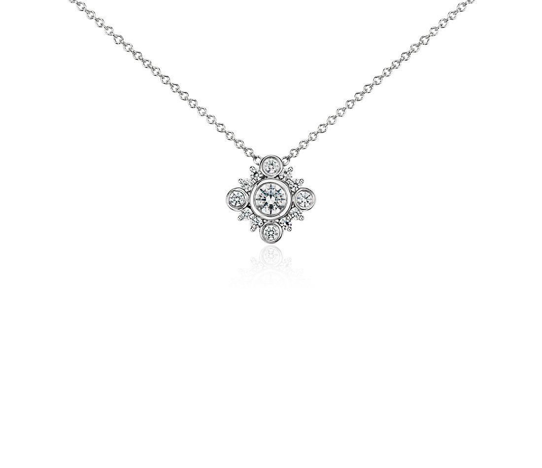 Deco Diamond Necklace in 14k White Gold (3/8 ct. tw.)