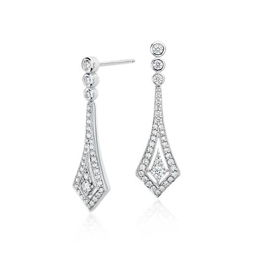 Deco Drop Diamond Earrings in 14k White Gold