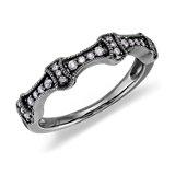 Anillo de diamantes vintage en oro blanco de 14k con Rodio negro