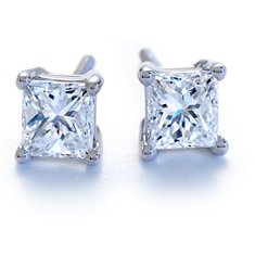 Four Prong Earrings in 14k White Gold