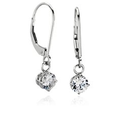 Four Prong Leverback Dangle Earrings in 14K White Gold