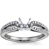 Micropavé Loop Diamond Engagement Ring in 14K White Gold