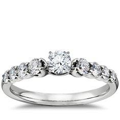Bague de fiançailles diamant à pierre latérale graduée en or blanc 14carats (2/5carats, poids total)
