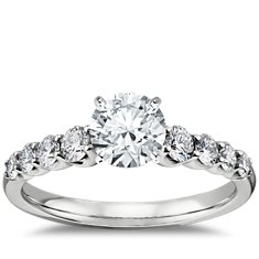 Graduated Side Stone Diamond Engagement Ring Setting