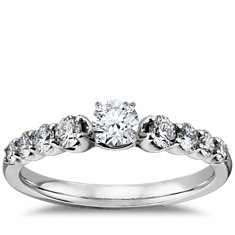 Graduated Side Stone Diamond Engagement Ring Setting in 14k White Gold (1/2 ct. tw.)
