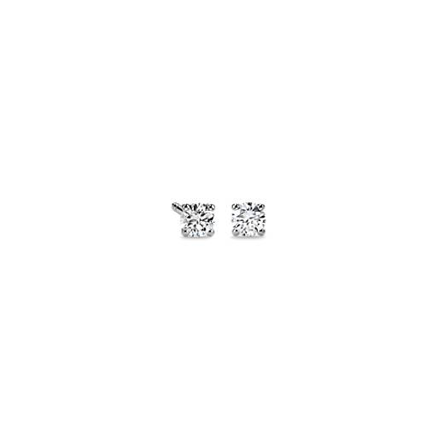 oro blanco de 14k Aretes con diamantes con cuatro garras (1/2 qt. total)