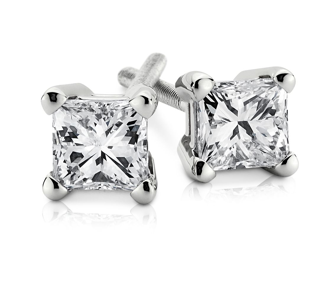 Princess-Cut Diamond Stud Earrings in 18k White Gold (0.40 ct. tw.)