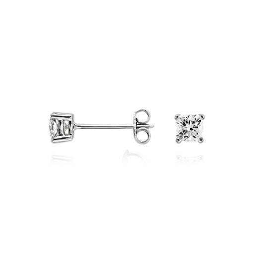 Aretes de diamante de talla cojín en oro blanco de 14k (1/2 qt. total)
