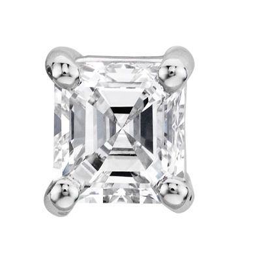Aretes de diamante de talla Asscher en oro blanco de 14k (1/2 qt. total)