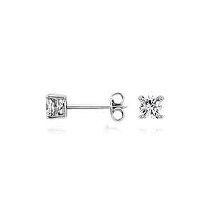 Puces d'oreilles diamant coussin en or blanc 14carats (3/4carat, poids total)
