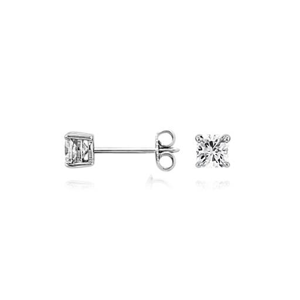 Aretes de diamante de talla cojín en oro blanco de 14k (3/4 qt. total)
