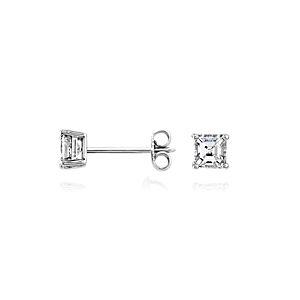 Aretes de diamante de talla Asscher en oro blanco de 14k (3/4 qt. total)